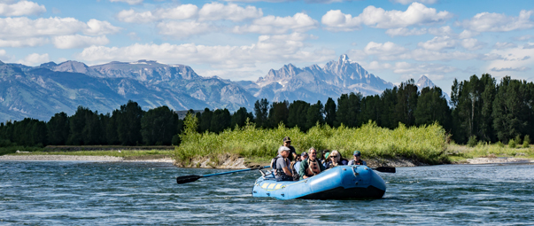 A group whitewater rafting.